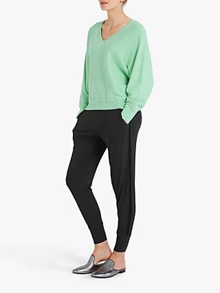 Sleepy Joe Cotton and Cashmere Blend V-Neck Sweater, Soft Mint