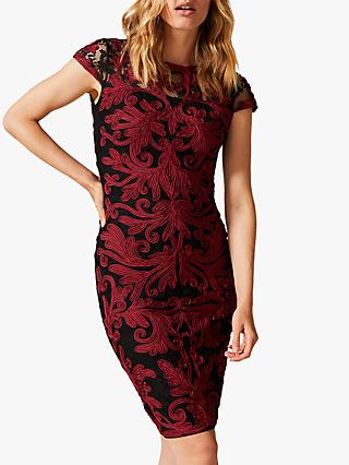 Phase Eight Eldora Dress, Black/Red