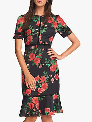 Phase Eight Hesita Rose Dress, Black/Scarlet