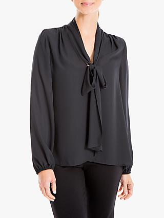 Max Studio Tie Neck Blouse, Black
