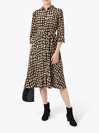 Hobbs Lainey Shirt Dress, Black/Camel