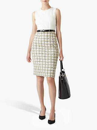 Hobbs Suri Check Tweed Tailored Dress, Ivory/Multi
