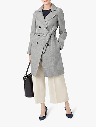 Hobbs Abby Linen Trench Coat, Black/Ivory