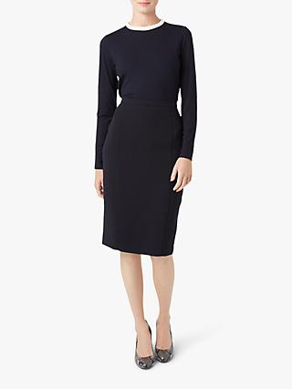 Hobbs Molly Pie Crust Collar Blouse, Navy