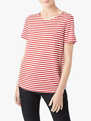 Hobbs Camille Stripe Button Shoulder T-Shirt