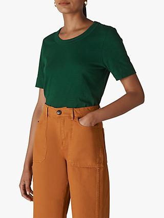 Whistles Rosa Double Trim T-Shirt, Dark Green