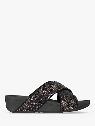 FitFlop Lulu Glitter Slide Sandals, Black