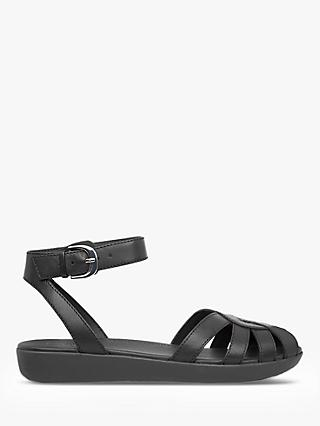 FitFlop Cova Weave Leather Closed-Toe Sandals, Black