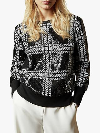 Ted Baker Catiya Check Sequin Sweatshirt, Black