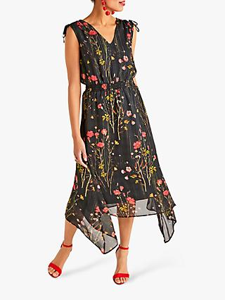 Yumi Poppy Print Dress, Black