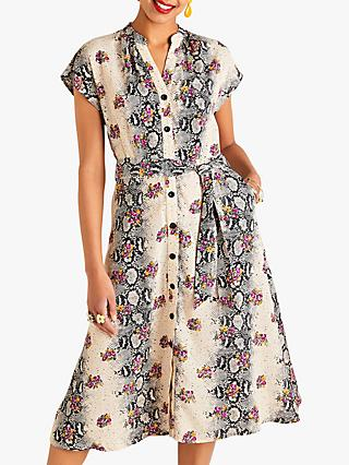 Yumi Animal Floral Contrast Dress, Beige