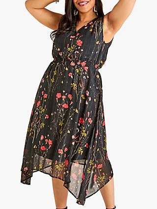 Yumi Curves Poppy Print Dress, Black