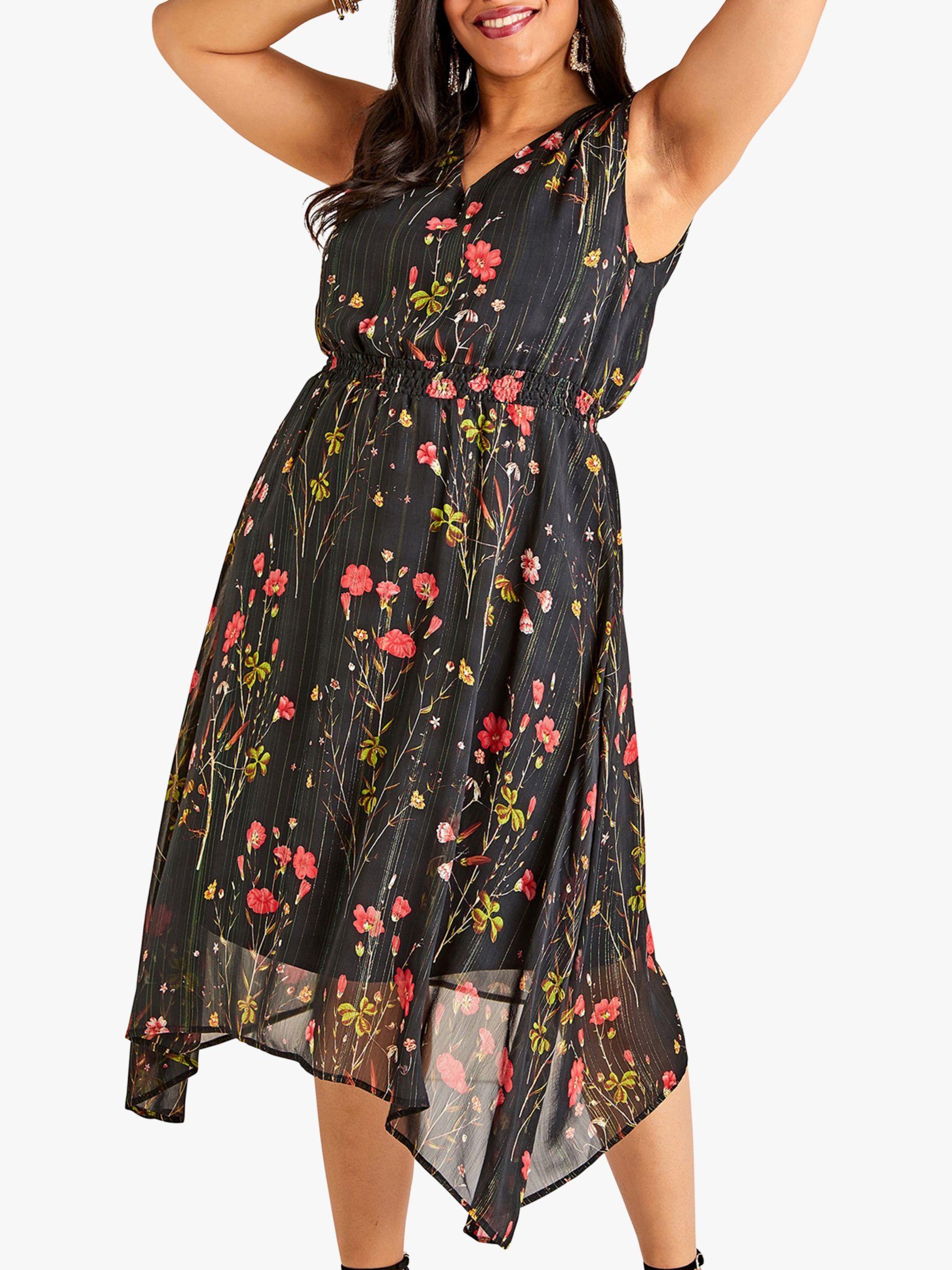 Yumi Yumi Curves Poppy Print Dress, Black