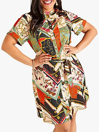 Yumi Curves Chain Print Shirt Dress, Multi