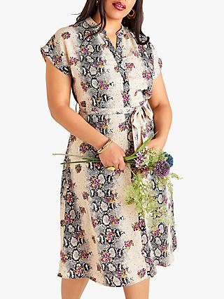 Yumi Curves Animal Floral Contrast Dress