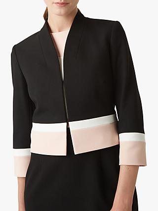 Hobbs Leah Colour Block Tailored Jacket, Black/Blush
