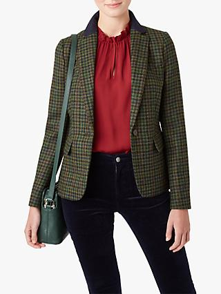 Hobbs Blake Tailored Herringbone Wool Jacket, Green/Navy