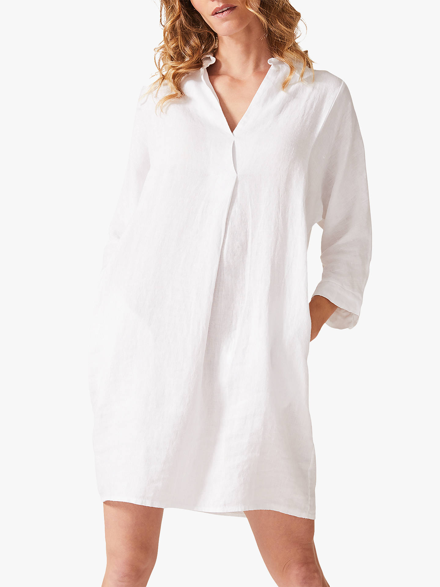Buy Phase Eight Kathy Linen Dress, White, 16 Online at johnlewis.com