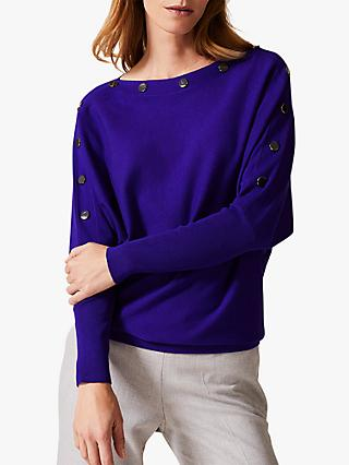 Phase Eight Brenda Button Jumper, Purple