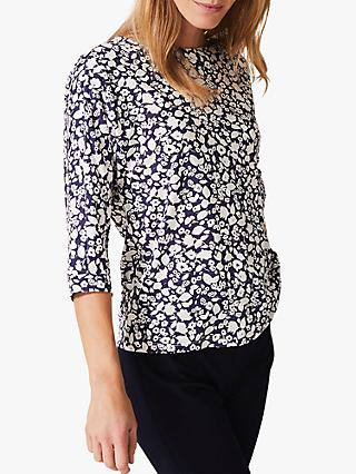 Phase Eight Florentine Floral Print Top, Navy