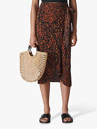 Whistles Brushed Leopard Sarong Skirt, Brown/Multi