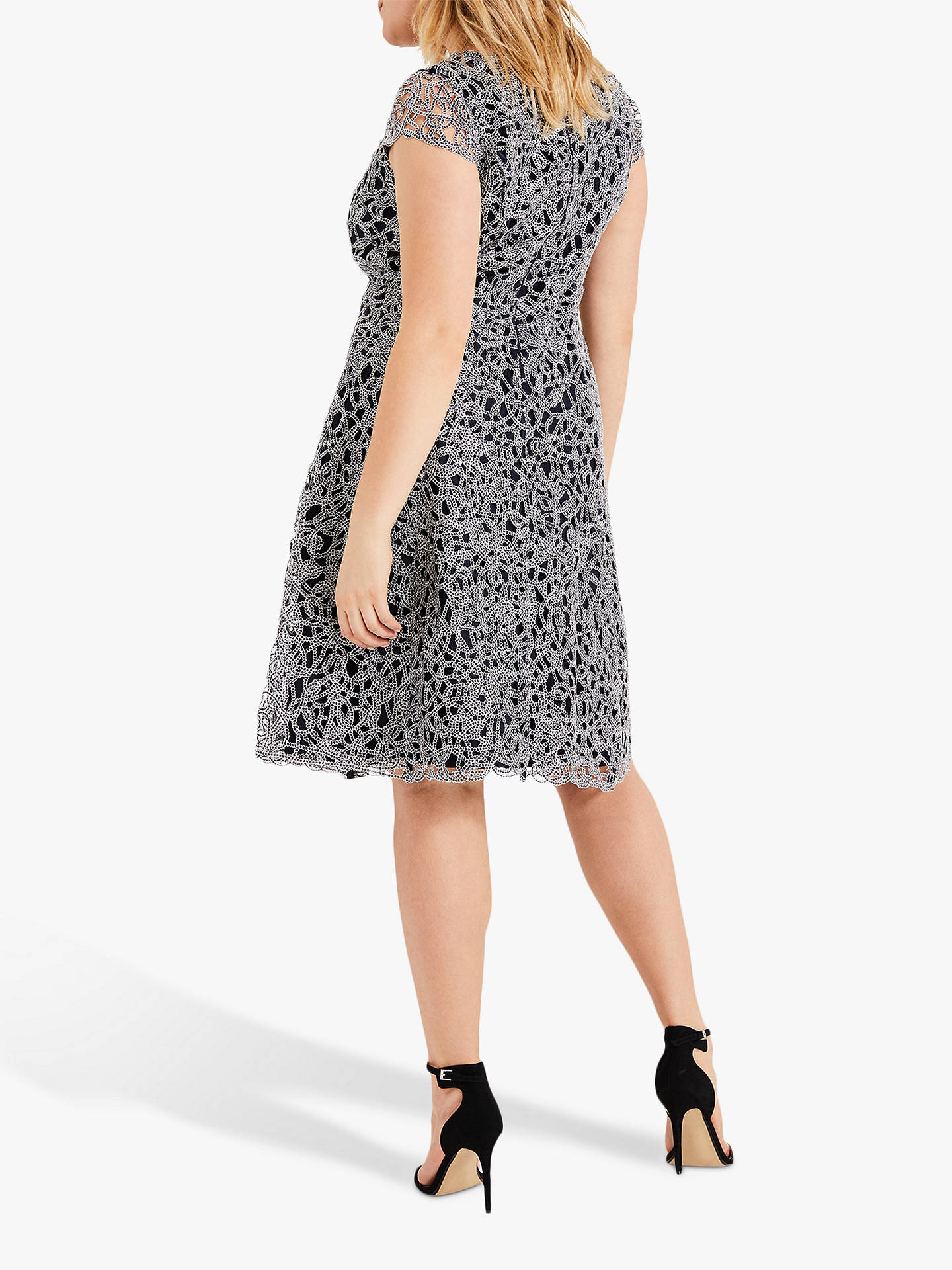 Buy Studio 8 Fenna Metallic Dress, Navy/Silver, 16 Online at johnlewis.com