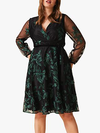 Studio 8 Lucille Embroidered Dress, Black/Green