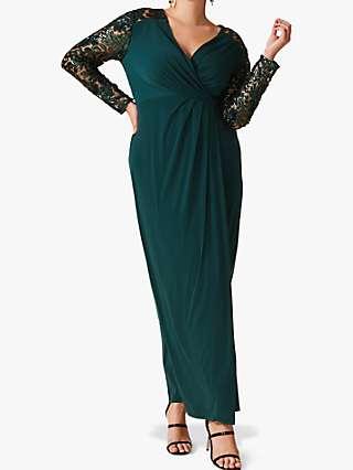 Studio 8 Melony Sequin Sleeve Maxi Dress, Emerald