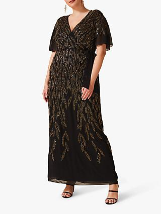 Studio 8 Hermosa Beaded Dress, Black/Gold