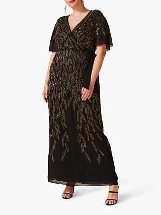 Studio 8 Hermosa Beaded Dress, Black/Gold