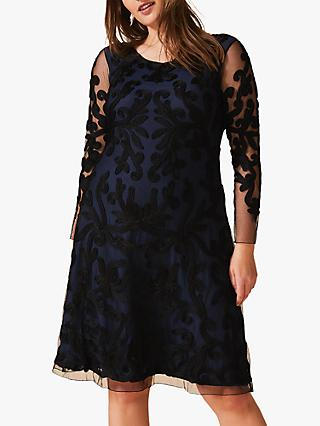 Studio 8 Aimee Tapework Dress, Navy/Black