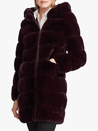 Lauren Ralph Lauren Faux Fur Hooded Jacket, Burgundy