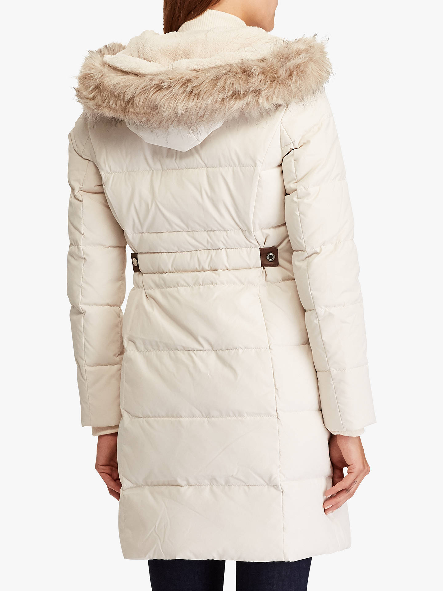 Buy Lauren Ralph Lauren Hooded Down Jacket, Moda Cream, XL Online at johnlewis.com