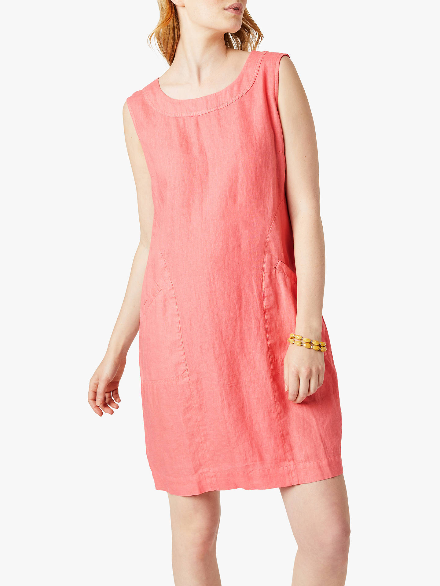 Buy White Stuff Ada Linen Dress, Coral, 18 Online at johnlewis.com