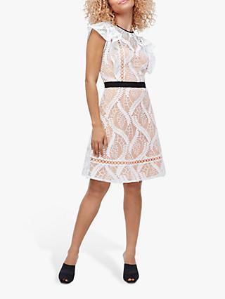 Coast Adie Leaf Embroidered Lace Dress, Ivory