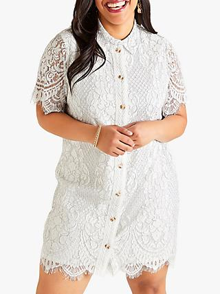 Yumi Curves Delicate Lace Dress, White