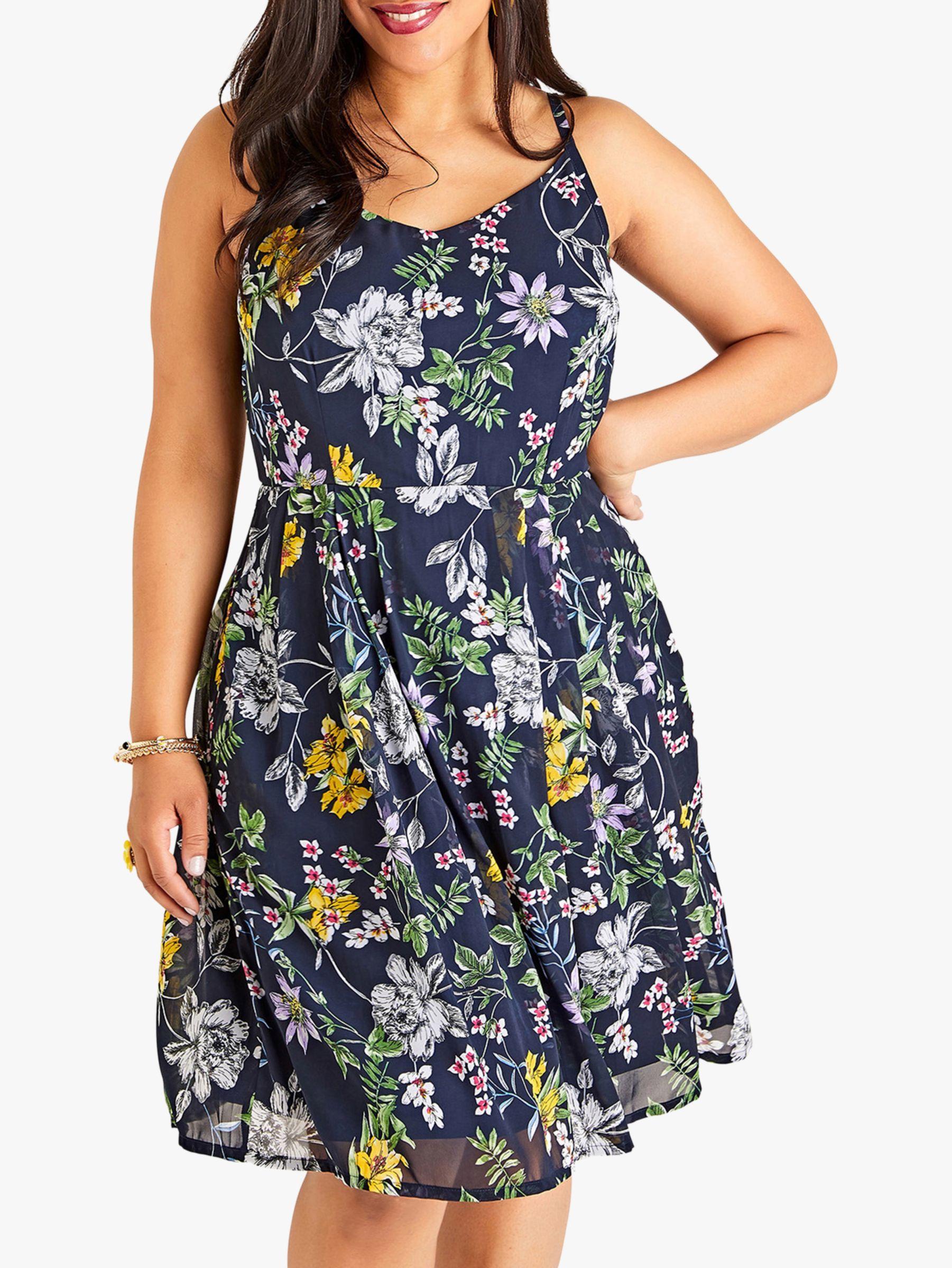Yumi Curves Yumi Curves Strappy Floral Dress, Navy
