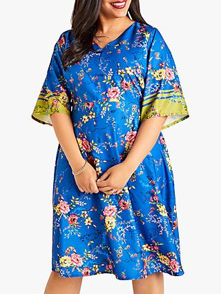 Yumi Curves Flower Kimono Dress, Blue
