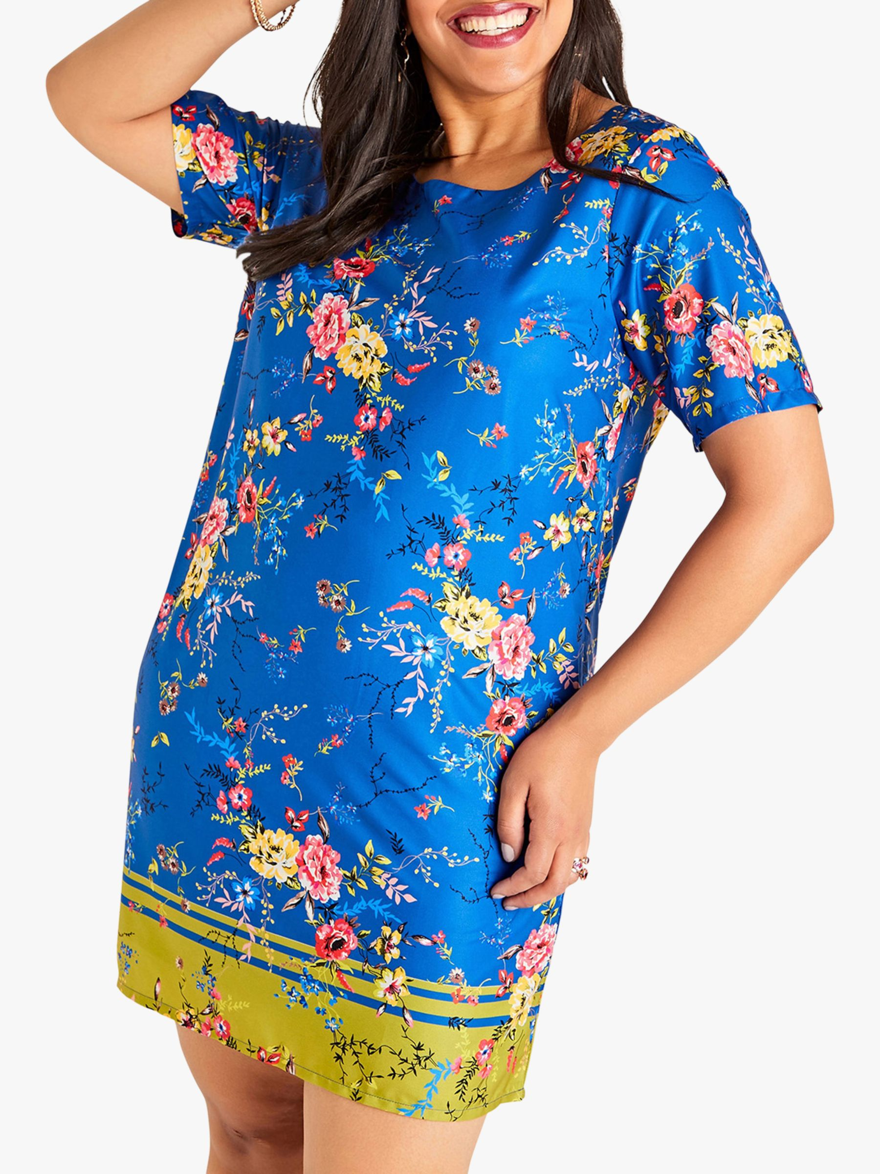 Yumi Curves Yumi Curves Flower Border Dress, Blue