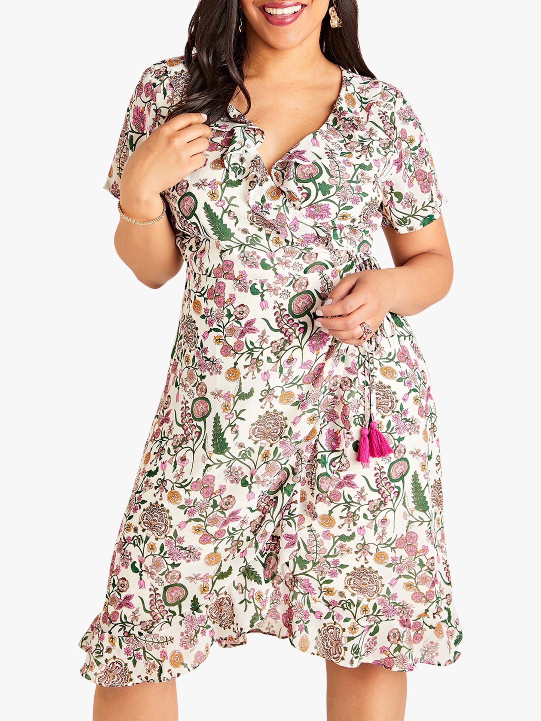 Yumi Curves Yumi Curves Wrap Garden Print Dress, Ivory