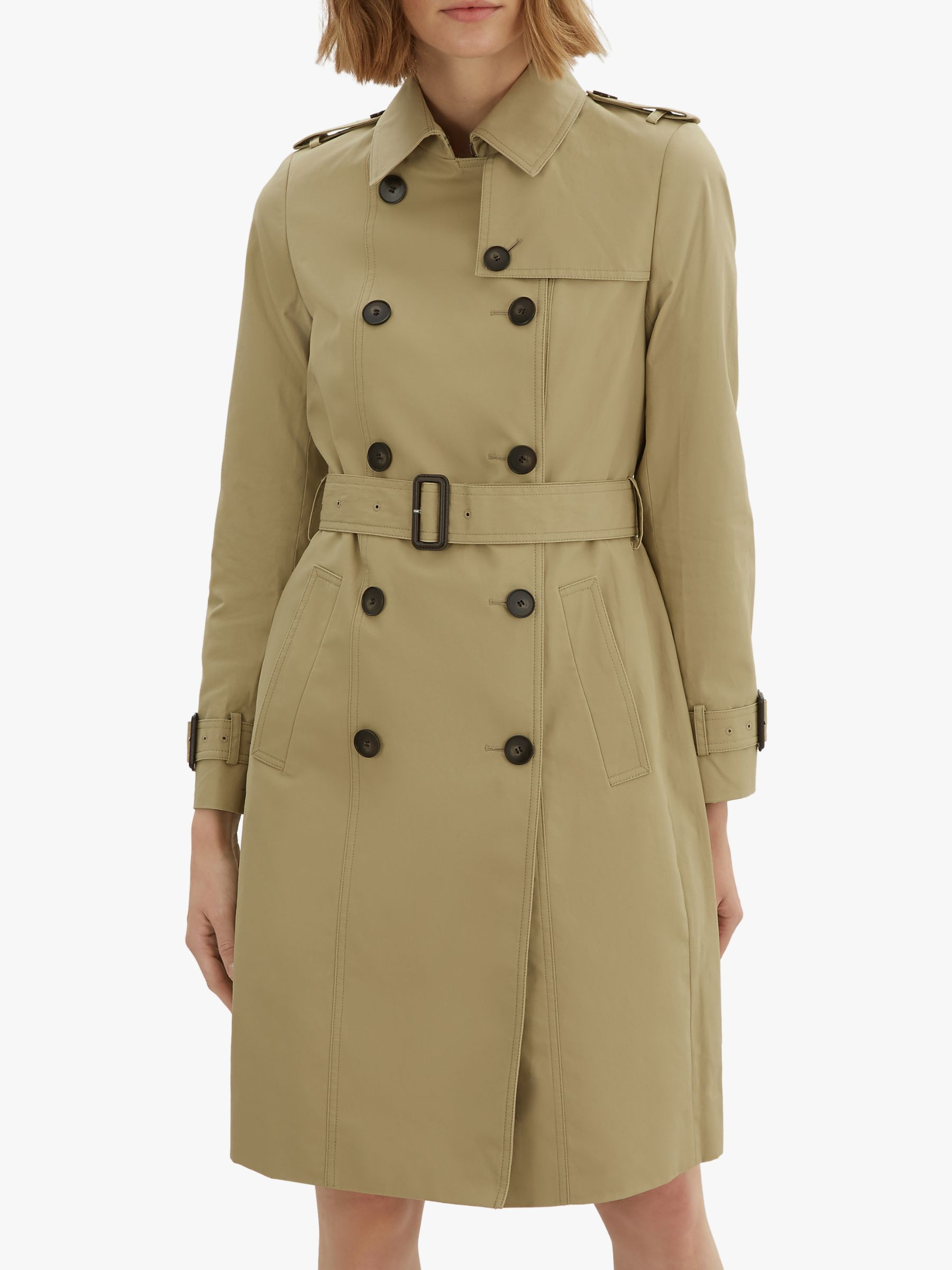 Jaeger Jaeger Long Cotton Trench Coat, Stone
