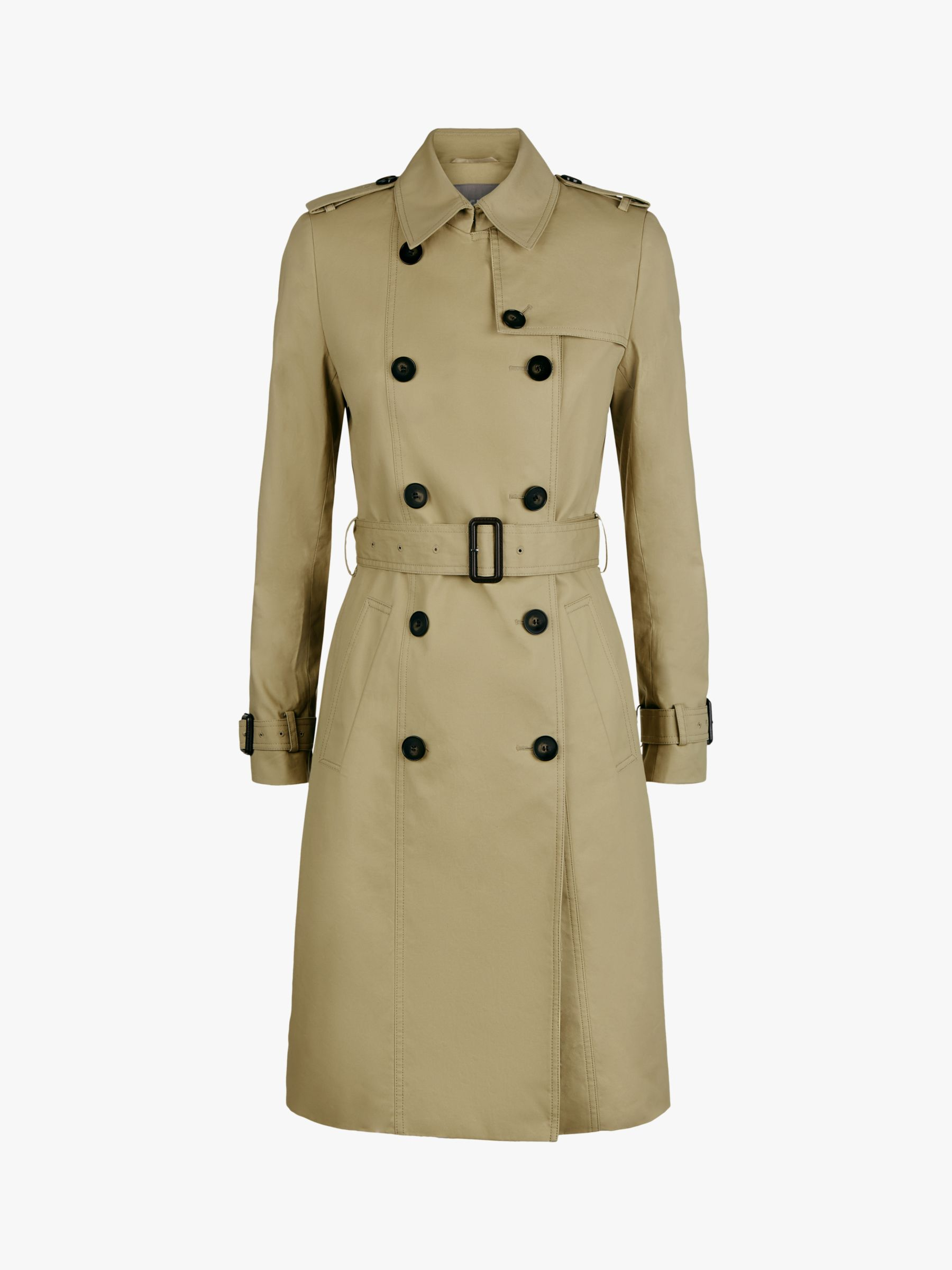 Buy Jaeger Long Cotton Trench Coat, Stone, 6 Online at johnlewis.com
