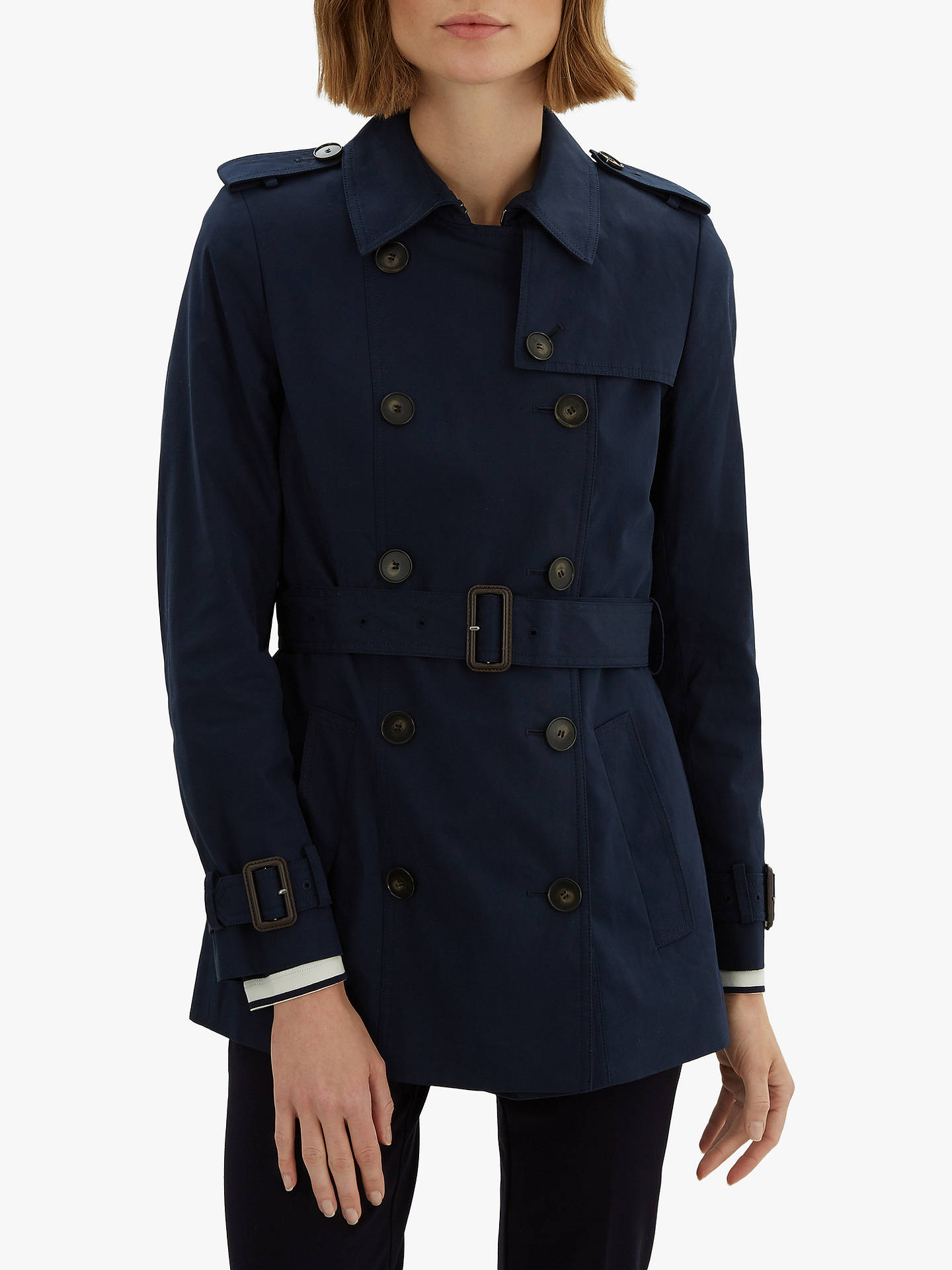new products best value search for clearance Jaeger Short Cotton Trench Coat, Navy