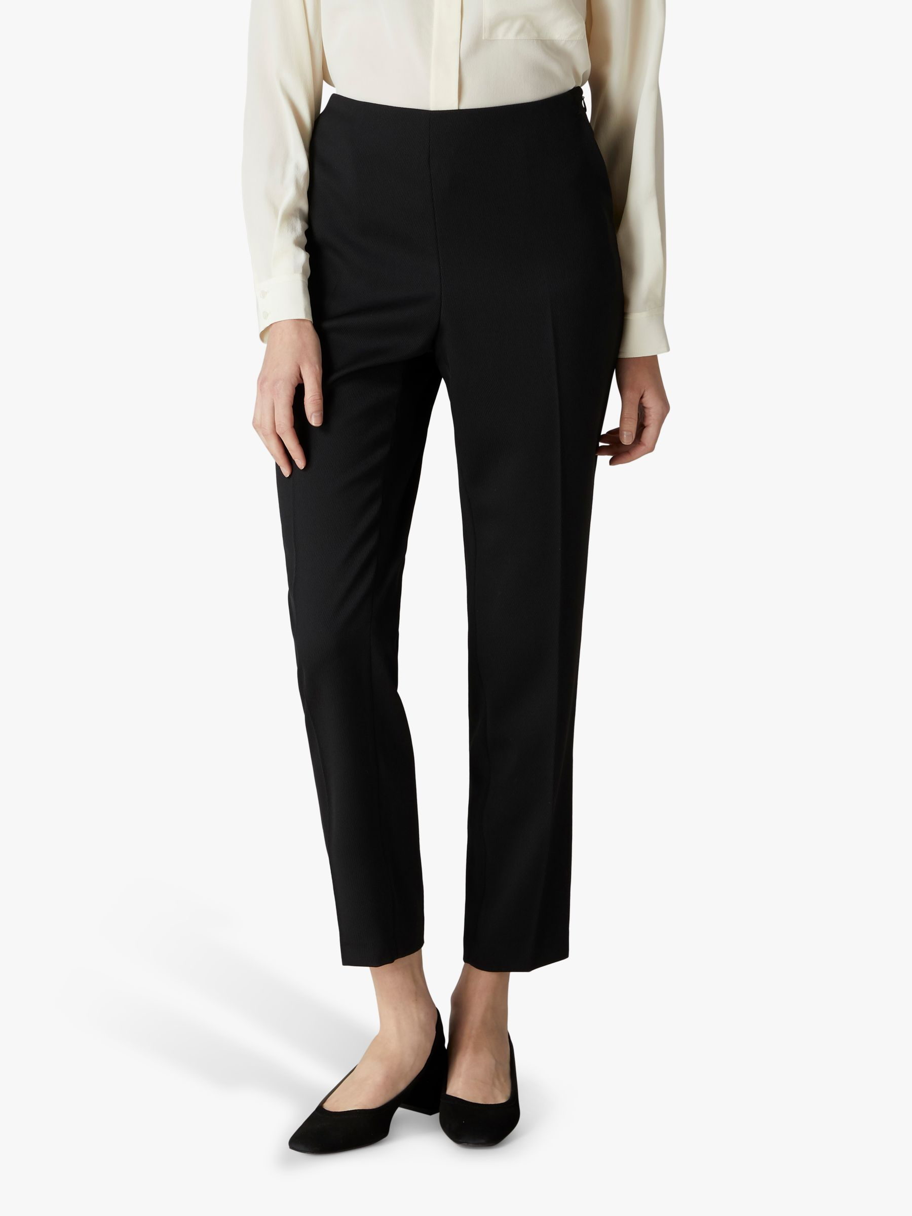 Jaeger Jaeger Grosgrain Trim Trousers, Black