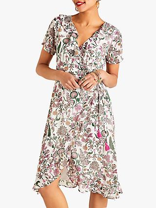 Yumi Wrap Garden Print Dress, Ivory