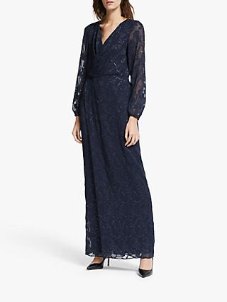 Lauren Ralph Lauren Annaliese Long Sleeve Evening Dress, Navy/Silver