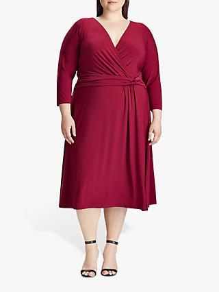 Lauren Ralph Lauren Curve Zanaharyn Jersey Dress, Dark Raspberry