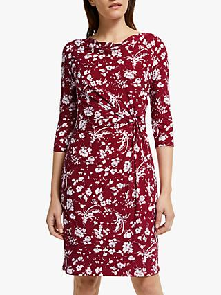Lauren Ralph Lauren Trava Floral Print Dress, Dark Raspberry
