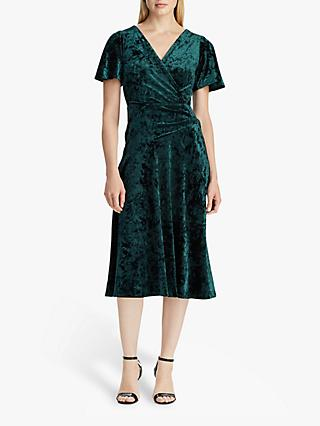 Lauren Ralph Lauren Marlin Velvet Dress, Dark Fern