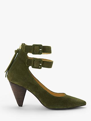 AND/OR Alona Suede Double Buckle Court Shoes, Green